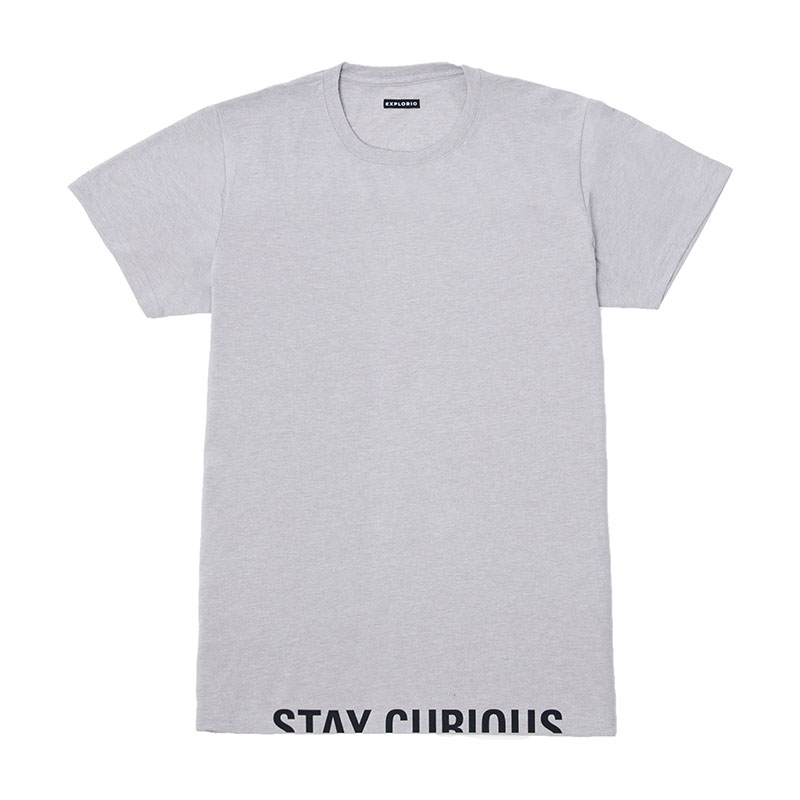 Explorio Stay Curious Premium T-Shirt Gray Front